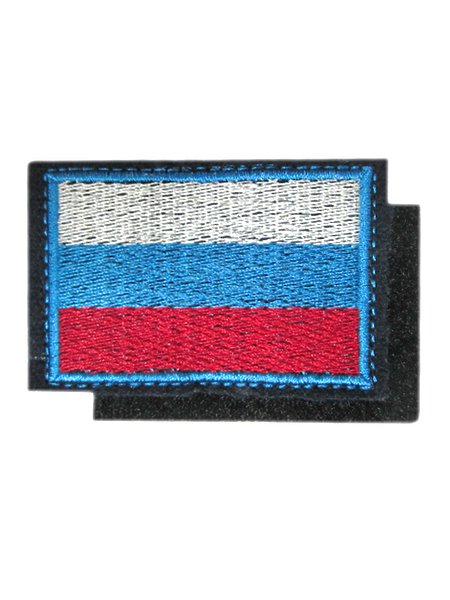 Нашивка выш. флаг РФ, (синий) кант голуб., шн, на липучке (арт. 10276)