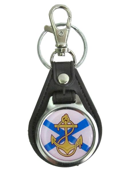 Брелок метал. на подложке ВМФ (якорь на флаге) ,арт.М, заливка смолой(крепление кольцо) (арт. 10882)