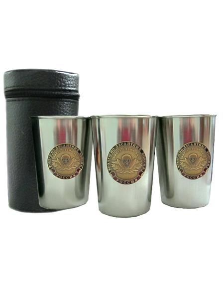 Набор стаканов из нерж.стали в чехле из кожи (3 шт), с металл. накладками (3 шт) ВДВ Никто.., арт.М. (арт. 10894)