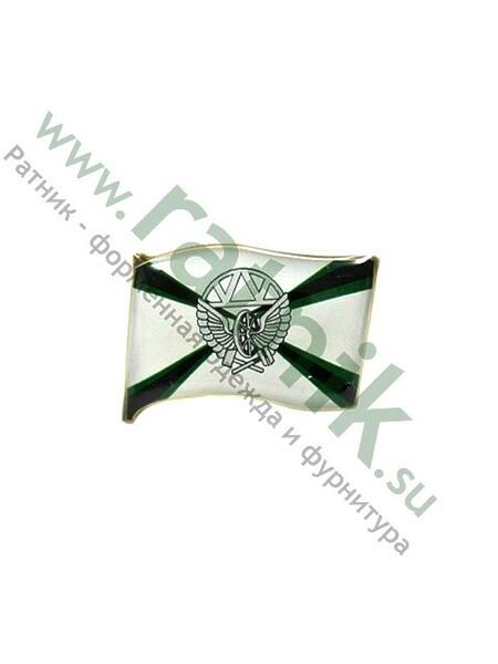 Значок флаг средний с эмблемой Железнодорожные войска, арт.М,заливка смолой. (арт. 2550)