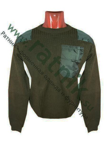 Свитер (джемпер) п/ш с накладками,погонами и карманом, оливковый, мод.СК (арт. 3212)