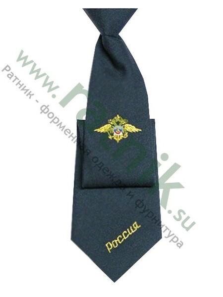 Галстук удлиненный серый с вышивкой  (МВД, флаг, орел) (арт. 3270)