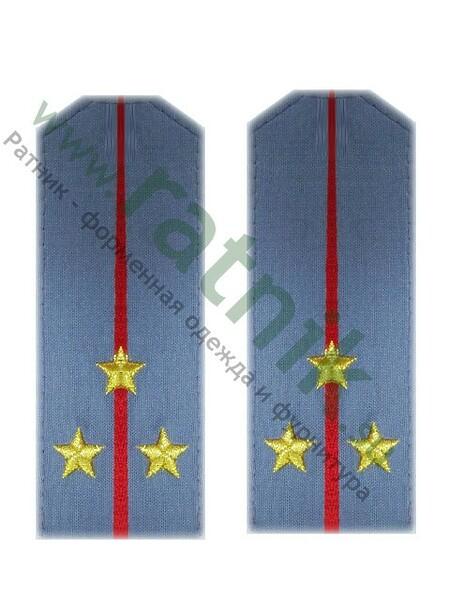 Погоны из руб.ткани серо-голубые с одним красным просв.и выш.звездами,ст.лейтенант(МВД) (арт. 4399)