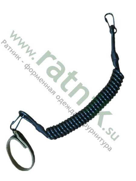 Шнур пистолетный спираль (2 карабина, шлевка),черный (арт. 6239)