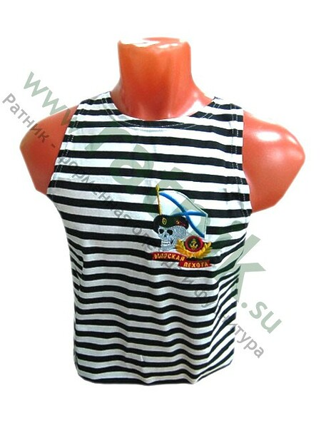 "Майка-тельняшка х/б, с выш. на груди, ""Морская пехота"", черная полоса. (арт. 6946)"