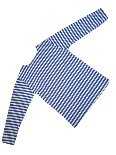 Тельняшка, с начесом (футер) 3-х нитка, голубая полоса . (арт. 9515)