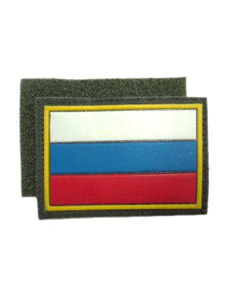 Нашивка триколор МО(флаг), оливк., пласт., на липучке (арт. 9534)