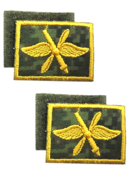 Нашивка выш.петличная ВВС с пушкой, оливк.(желт.), на липучке (арт. 9542)