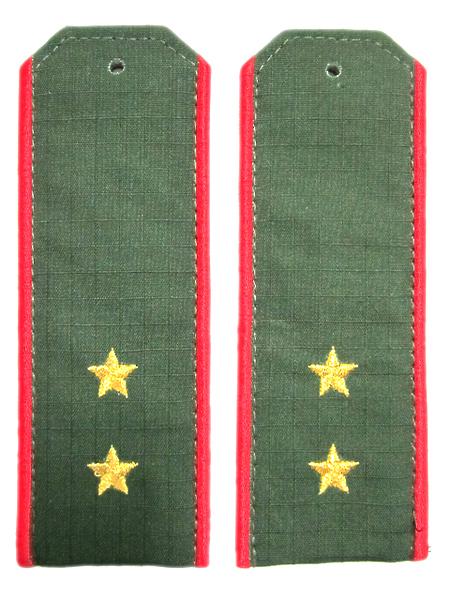 Погоны (машинная вышивка) оливк.с красн. кант.выш. и звездами, прапорщик,тк.рип-стоп (арт. 9728)