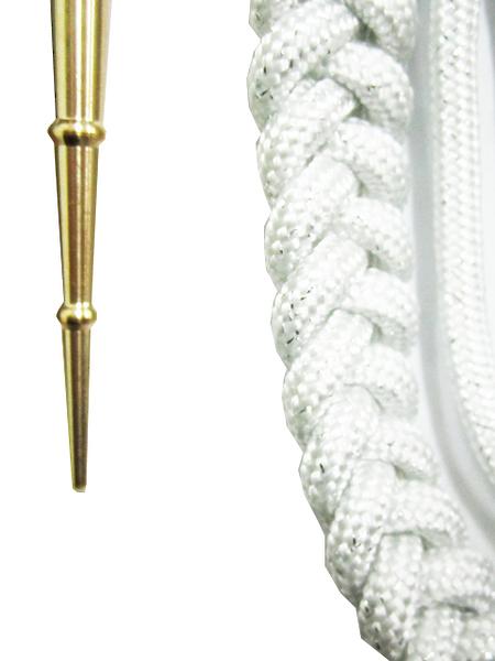 Аксельбант офицерский белый с серебристой нитью, 1 нак. (арт. 9917)